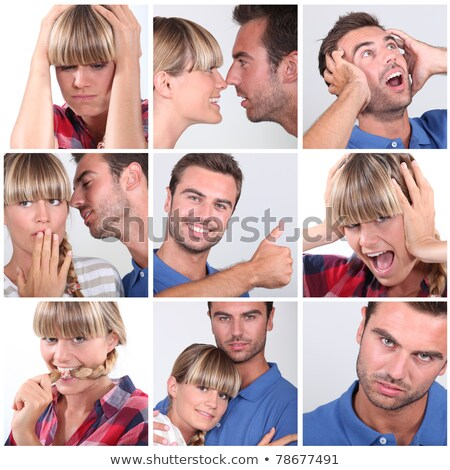 Mosaic of couple displaying variety of emotions Stock photo © photography33