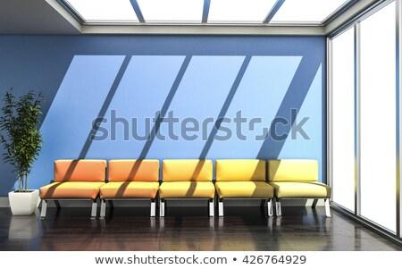 Váróterem narancs fehér bőr bútor üzlet Stock fotó © dacasdo