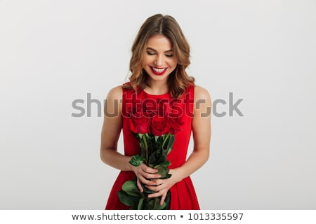 Happy Young girl with red rose Stock photo © zastavkin