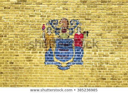 Grunge bayrak New Jersey tuğla duvar boyalı amerikan Stok fotoğraf © vepar5