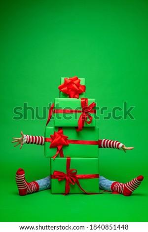 karácsony · női · lábak · izolált · fehér · nő - stock fotó © kalozzolak