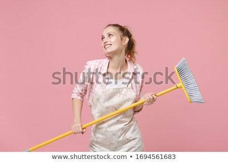 Stok fotoğraf: Gülen · temizleyici · kadın · süpürge · beyaz