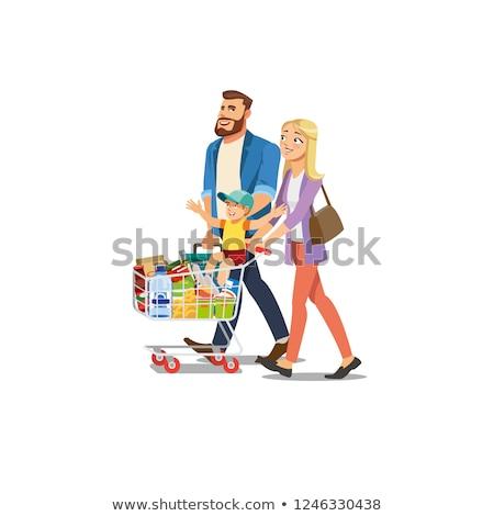Heureux cartoon famille Shopping maman papa Photo stock © Thodoris_Tibilis