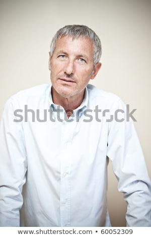 Stockfoto: Boos · zakenman · senior · grijs · haar · ernstig · man