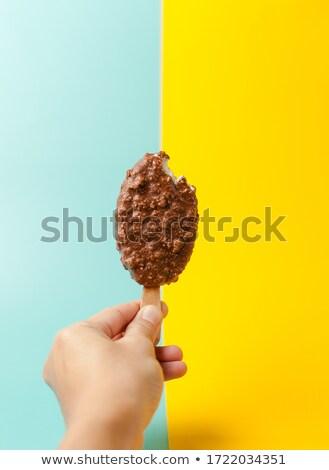 One chocolate vanilla ice cream in hand isolated on white Stock photo © inxti