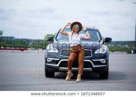 gyönyörű · nő · telefon · cabrio · autó · fiatal · felnőtt · barna · hajú - stock fotó © dashapetrenko