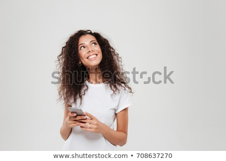 Aramak portre genç iş kadını işaret Stok fotoğraf © ichiosea