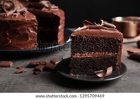 Stock photo: Slice of chocolate cream cake