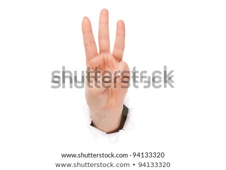 closeup of arm   hand making european number three sign stock photo © dgilder
