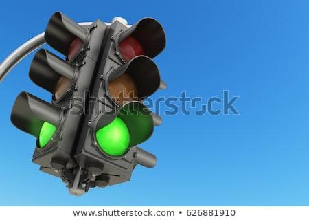 verde · luz · verde · semáforo · blue · sky · céu · rua - foto stock © jonnysek