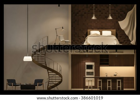 Isometric section of 3d space  Stock photo © shawlinmohd