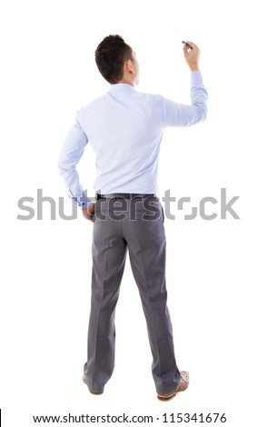 üzletember tanár fehér tábla hát üzlet oktatás Stock fotó © dolgachov