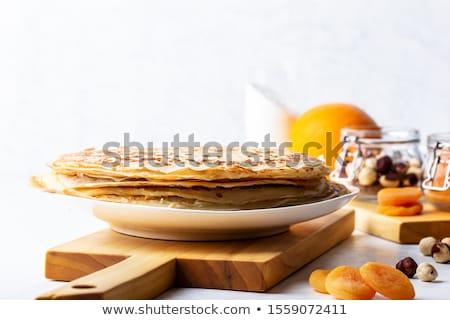 Foto stock: Crepe · ingredientes · fruto · leite · café · da · manhã · cozinhar