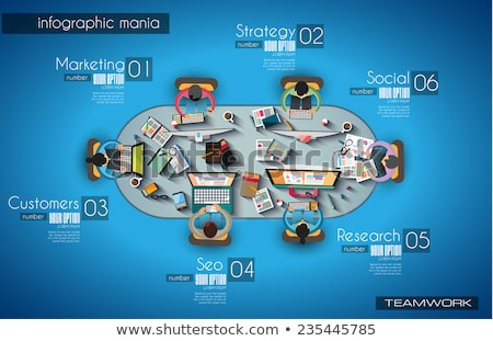 Infographic teamwork and brainstorming with Flat style. A lot of design elements are included: compu Stock photo © DavidArts