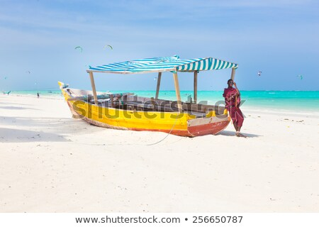 Picture perfect white tropical sandy beach on Zanzibar. Stock photo © kasto