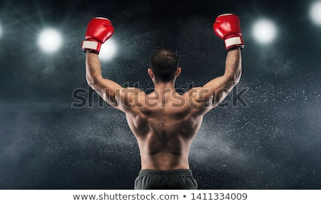 mão · boxeador · preto · momento - foto stock © master1305