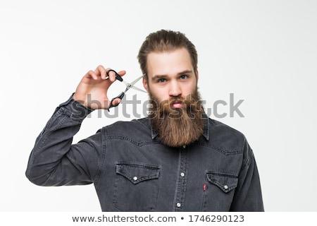 Fiatal szakállas férfi olló izolált fehér Stock fotó © Valeriy