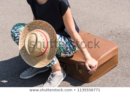 woman with old suitcase   Stock photo © compuinfoto