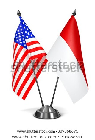 EUA Mônaco miniatura bandeiras isolado branco Foto stock © tashatuvango