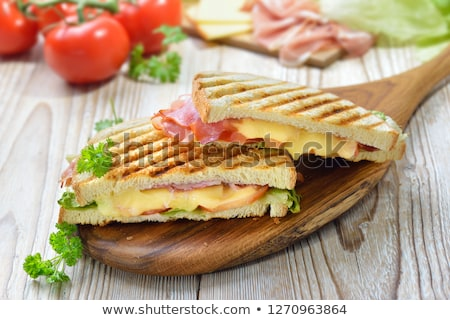 szynka · ser · jaj · kanapki · deska · do · krojenia · żywności - zdjęcia stock © digifoodstock