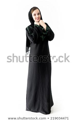 moslim · vrouw · zwarte · jurk · geïsoleerd · witte · boeken - stockfoto © zurijeta