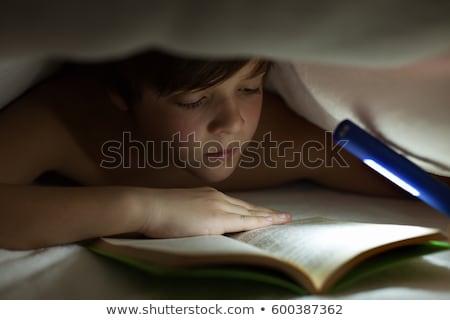 Stock fotó: Fiatal · srác · olvas · könyv · pléd · paplan · világítás