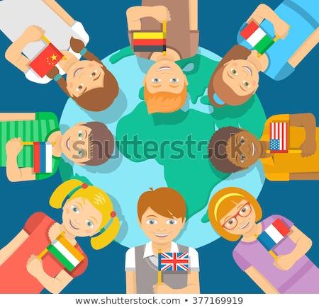 Crianças bandeira diferente países ilustração Foto stock © bluering
