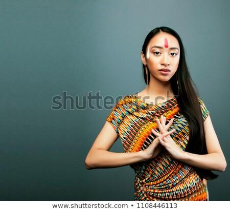 Schönheit jungen asian Mädchen machen wie Stock foto © iordani