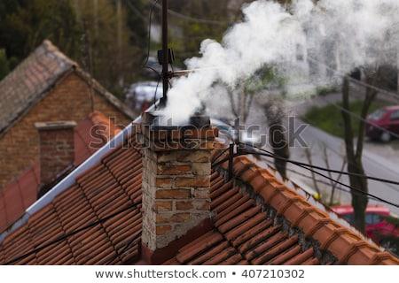 Pormenor fumador chaminé indústria sujeira Foto stock © phbcz