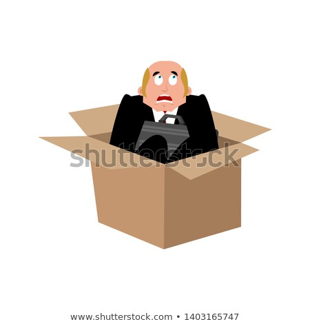 Stockfoto: Businessman Scared In Box Frightened Business Man Boss Fear V