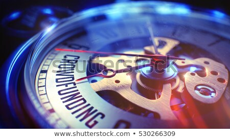 crowd funding   inscription on pocket watch 3d stock photo © tashatuvango