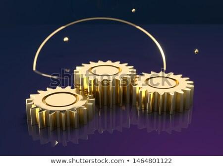 industrial robot on golden cogwheels 3d stock photo © tashatuvango