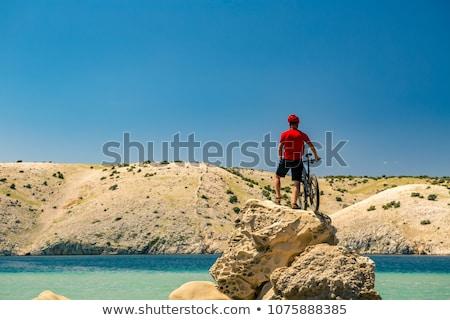 Mountain biker celebrating inspiring view at the sea stock photo © blasbike