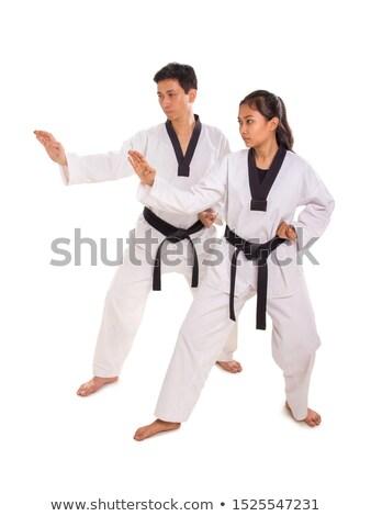 Twee karate houding portret zwarte Stockfoto © wavebreak_media