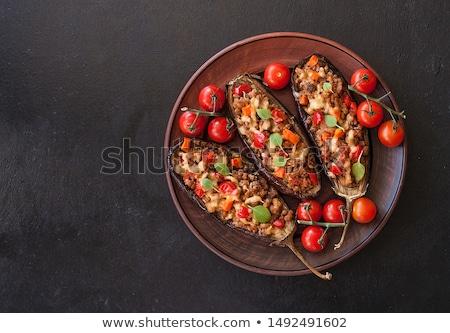 Töltött padlizsán zöldség étel paradicsom ebéd Stock fotó © M-studio