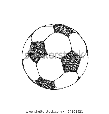 Soccer player with ball hand drawn outline doodle icon. Stock photo © RAStudio