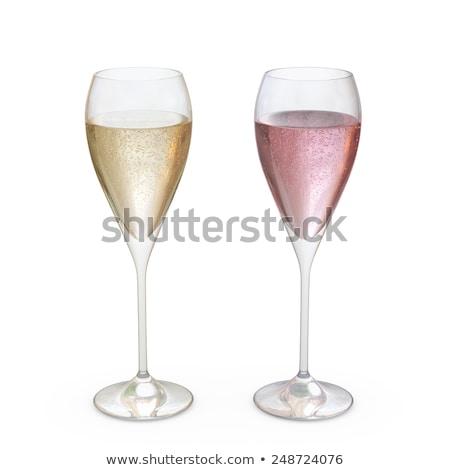 Gül pembe şampanya gözlük kabarcıklar siyah Stok fotoğraf © DenisMArt