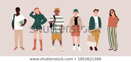 Estudantes elegante bolsa menino mochila Foto stock © robuart