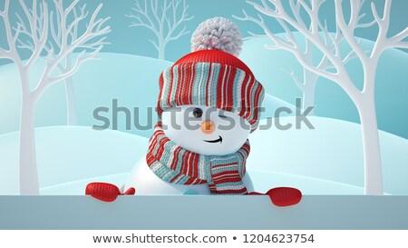 Snowman blinking and smiling Stock photo © chocolatebrandy