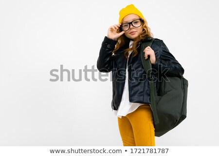 Jeune fille noir chapeau veste posant peint Photo stock © acidgrey