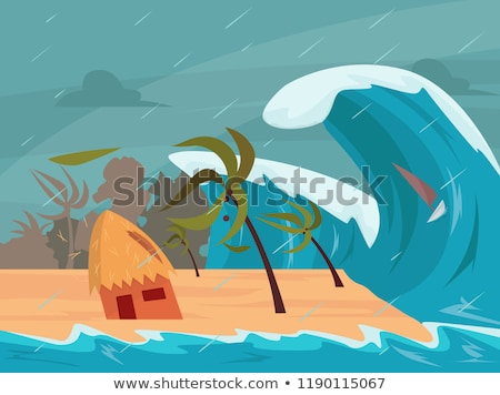 Tsunami praia recorrer ilustração natureza projeto Foto stock © bluering