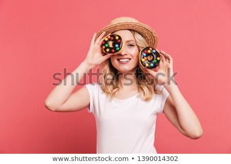 фото положительный женщину 20-х годов соломенной шляпе Сток-фото © deandrobot