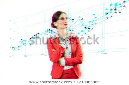 Zakenvrouw permanente gegevens stream menselijke technologie Stockfoto © Kzenon
