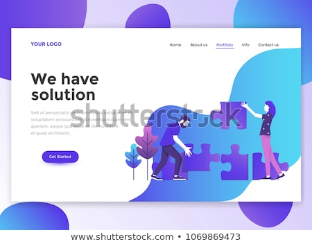 Flat vector website template and landing page design of girl chatting and blogging on her lap top. N Stock photo © makyzz