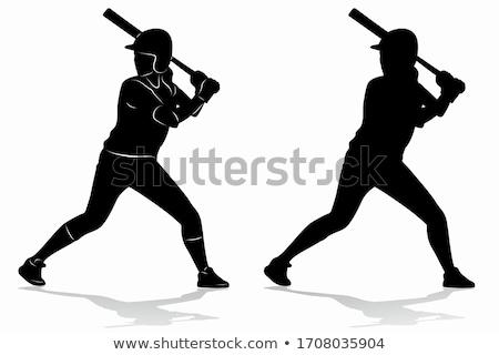 Cartoon meisje softbal illustratie kind spelen Stockfoto © cthoman