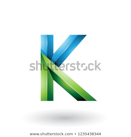 blue and green glossy 3d geometrical letter k vector illustratio stock photo © cidepix