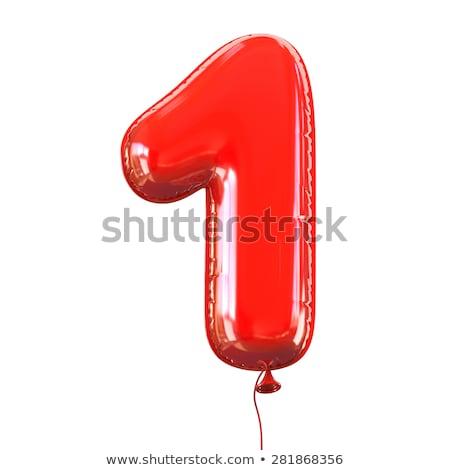 Piros fényes betűtípus szám egy 3D Stock fotó © djmilic