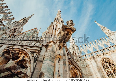 Marble statues - architecture on roof of Duomo cathedral Stock photo © vapi