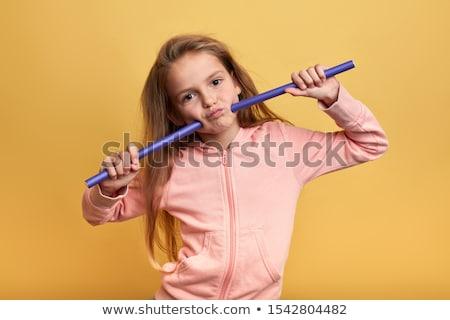 Kıvırcık saçlı küçük kız kız saç çocuk kadın Stok fotoğraf © boggy
