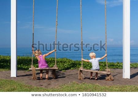 два мало блондинка мальчики Swing Сток-фото © galitskaya